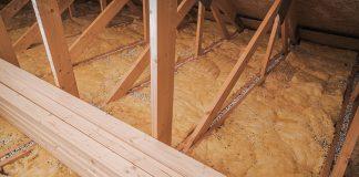 Close up of loft insulation