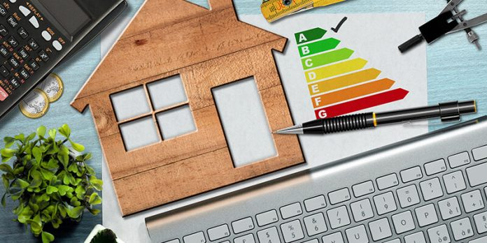 energy performance graphic with green home and calculator