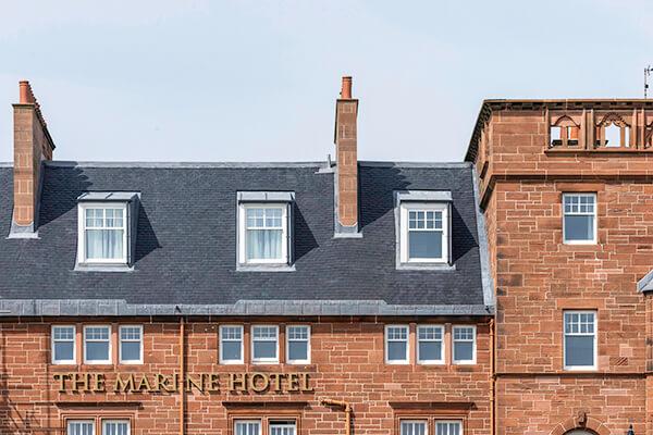 New Heavy 3 slate roof on the Marina Hotel, Ayrshire