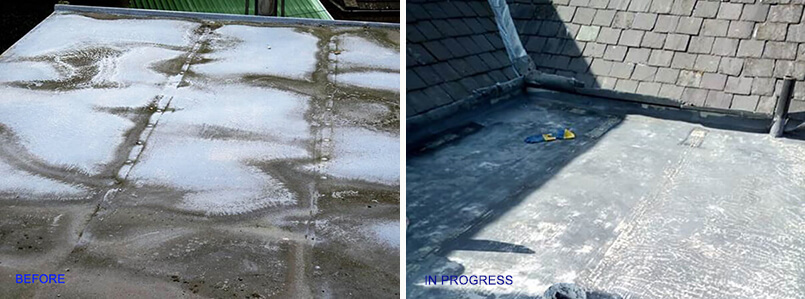 Dryseal flat roof before and during installation