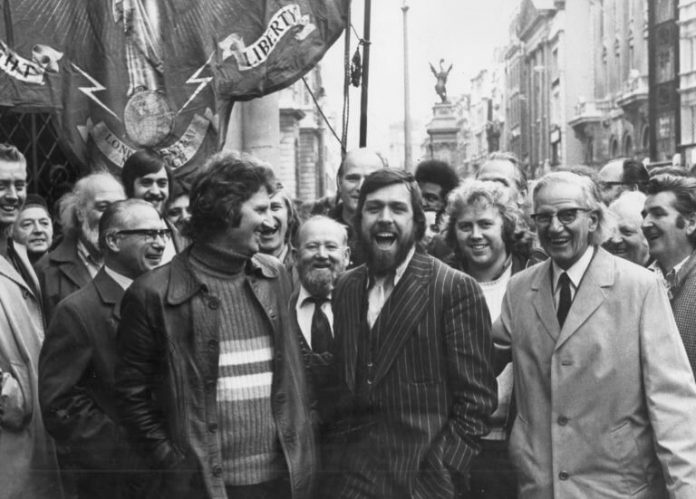 Shrewsbury 24 - Des Warren greeted by Ricky Tomlinson after being freed from prison in 1975