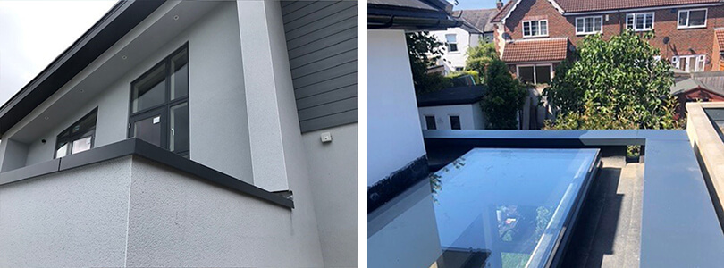 Rainclear - Skyline Aluminium Capping ideas: in use (left). And (right) an extension from above.
