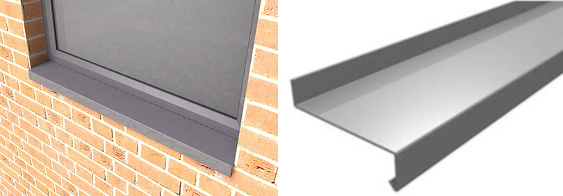 Rainclear - The Skyline Contemporary Aluminium Cills (left): insitu and (right): the 3-bend version viewed 'end on'.