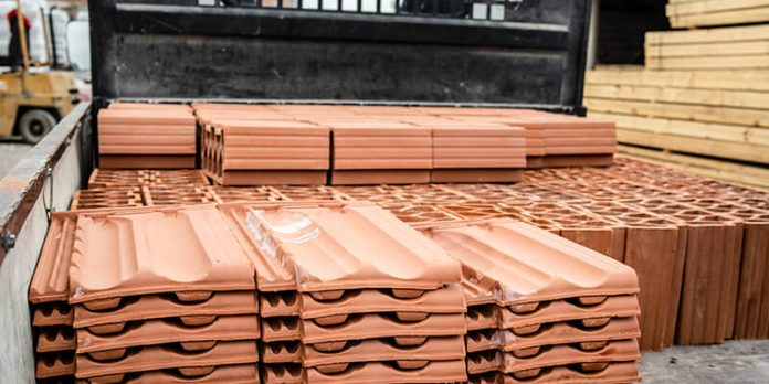 Roof Tiles stacked on pallet - consttuction mateials shortages