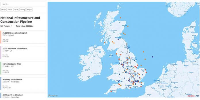Construction Pipeline 2021 Interactive UK map showing projects in each area
