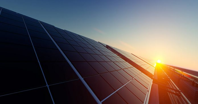 renewable energy solar panels in the sunset